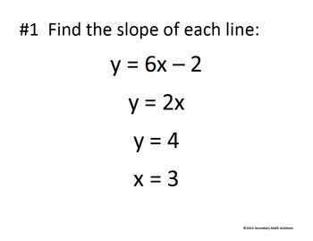Linear Functions Review Activity #2