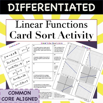Linear Functions Card Sort: Graph, Equation, Characteristic, Table, Verbal Descr