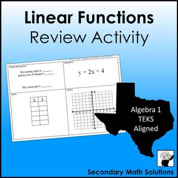 Linear Functions Review Activity #1