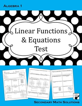 Linear Functions & Equations Test