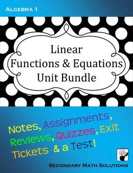 Linear Functions & Equations Unit Bundle