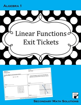Linear Functions Exit Tickets (or Warm-ups)