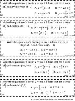 8th Grade Linear Functions Graphs and Rate of Change Game