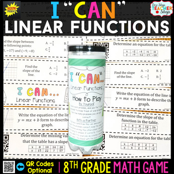 Linear Functions, Graphs, & Rate of Change Eighth Grade Math Game