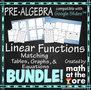 Linear Functions Matching BUNDLE - Graphs, Tables, & Equations - Google Drive
