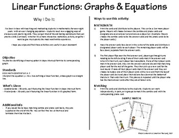 Linear Functions - Matching Graphs & Equations - MATH2MATH