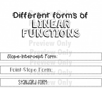 Linear Functions Pack