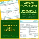 Linear Functions Parent Functions,Transformations Lesson,