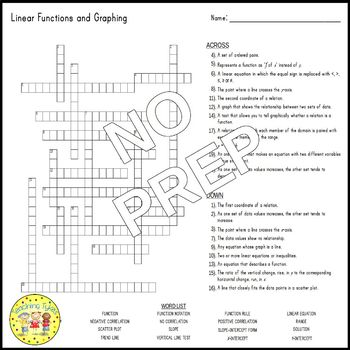 Linear Functions Pre-Algebra Crossword Puzzle