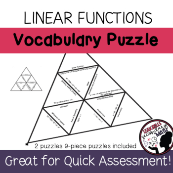 Linear Functions Vocabulary Puzzle