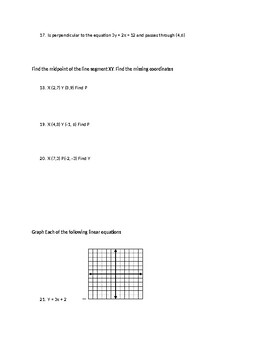 Linear Functions Quiz/Test/Review