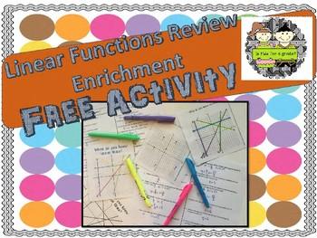 Linear Functions Review Enrichment Activity FREEBIE