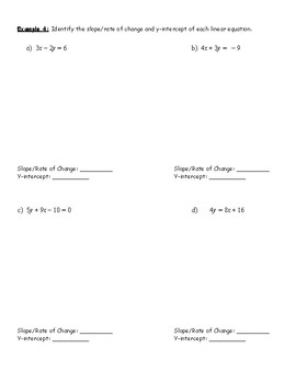 Linear Functions Review Notes