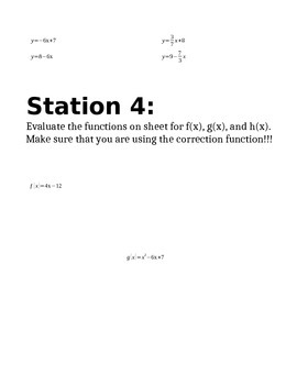 Linear Functions Station Review