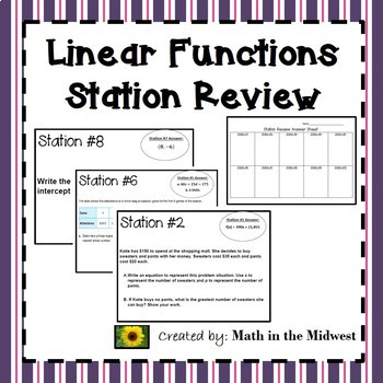 Linear Functions Station Review {Linear Equations} Algebra 1