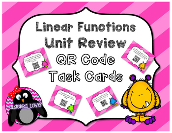 Linear Functions Task Cards with or without  QR CODES