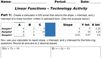Linear Functions - Technology Activity