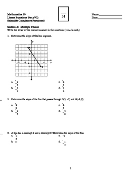 Math 10: Linear Functions Test - with SOLUTIONS