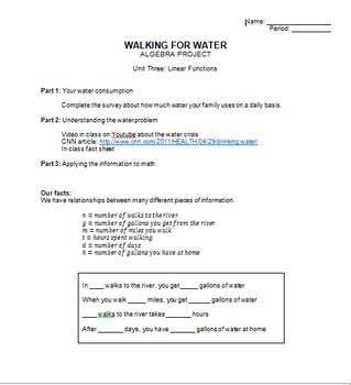 Linear Functions - Walking for Water Project