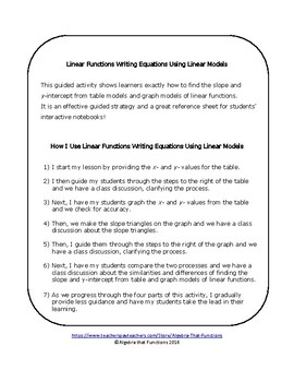 Linear Functions Writing Equations Using Linear Models Guided Learning
