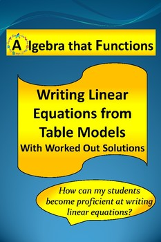 Linear Functions: Writing Equations from Table Models with Worked Out Solutions
