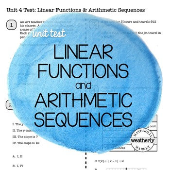 LINEAR FUNCTIONS and ARITHMETIC SEQUENCES Unit Test CC Algebra 1