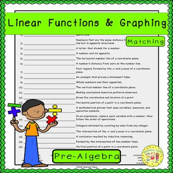 Linear Functions and Graphing Matching