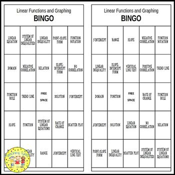 Linear Functions and Graphing Pre-Algebra BINGO