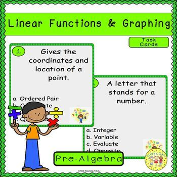 Linear Functions and Graphing Pre-Algebra Task Cards