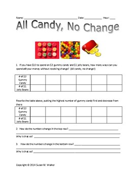"""Linear Functions using Candy: """"kid friendly"""" with tables,"""