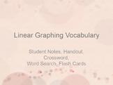 Linear Graphing Vocabulary for Algebra I / Pre-Algebra - Notes, Crossword, more