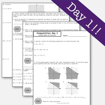 Linear Inequalities Guided Notes - 2 Day Bundle!