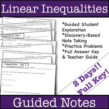 Graphing Linear Inequalities Guided Notes - 2 Day Bundle!
