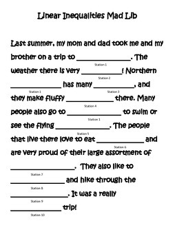Linear Inequalities Mad Lib