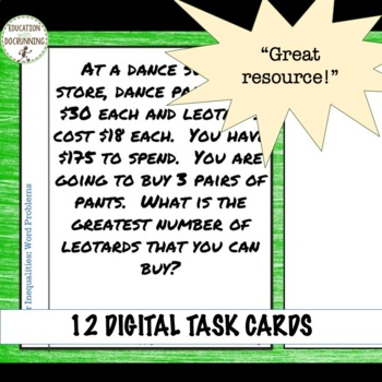 Linear Inequalities Word Problems Digital Task Card Activity