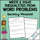 Linear Inequalities Word Problems Discovery Worksheet