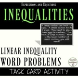 Linear Inequalities Word Problems Task Card Activity