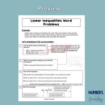 Linear Inequalities Word Problems Worksheet by Numbers in ...