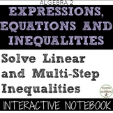 Linear Inequalities and Multistep Inequalities Color Coded Interactive Notebook