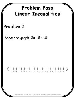 Linear Inequalities in One Variable Problem Pass Activity