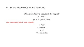 Linear Inequalities in Two Variables Lesson