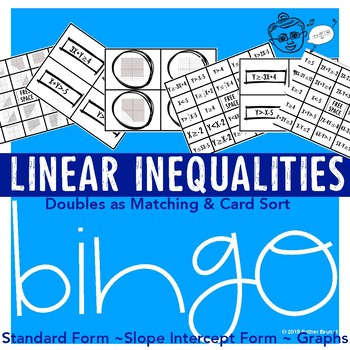 Linear Inequality Bingo, Matching & Card Sort