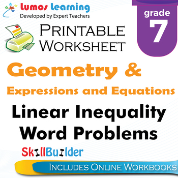 Linear Inequality Word Problems Printable Worksheet, Grade 7