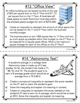 Linear Inequality Word Problems TASK CARDS - Differentiated Activity