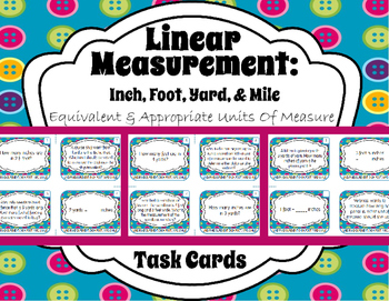 Linear Measurement: Inch, Foot, Yard, & Mile- Equivalent & Appropriate Units