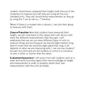Linear Measurement - Math Handout & Lesson Plan