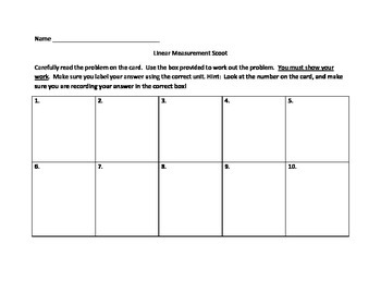 Linear Measurement Task Cards or Scoot Activity
