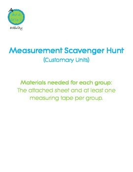 Linear Measurment Scavenger Hunt