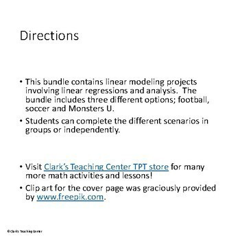 Linear Modeling Projects! (CCSS.HSF.LE.A.1)