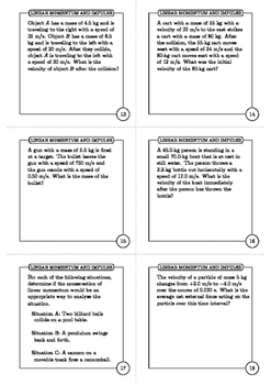 Linear Momentum and Impulse Task Cards